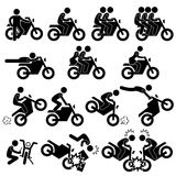 Motorcycle Stunt Man Daredevil People Stick Figure. A set of pictograms representing people riding on motorcycle Stock Images
