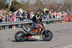 Motorcycle Stunt Rider. VICTORIA/AUSTRALIA - SEPTEMBER 2015: Stunt motorcycle rider performing at a local car show on the 13 September 2015 in Corowa Stock Photo