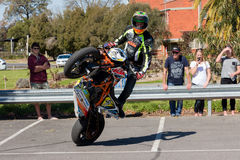 Motorcycle Stunt Rider. VICTORIA/AUSTRALIA - SEPTEMBER 2015: Stunt motorcycle rider performing at a local car show on the 13 September 2015 in Corowa Stock Images