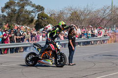 Motorcycle Stunt Rider. VICTORIA/AUSTRALIA - SEPTEMBER 2015: Stunt motorcycle rider performing at a local car show on the 13 September 2015 in Corowa Stock Image