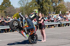 Motorcycle Stunt Rider. VICTORIA/AUSTRALIA - SEPTEMBER 2015: Stunt motorcycle rider performing at a local car show on the 13 September 2015 in Corowa Stock Photography