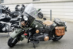 A motorcycle in the style army stationed Stock Photo