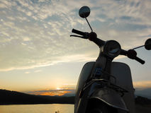Motorcycle. With the sunset Stock Photography