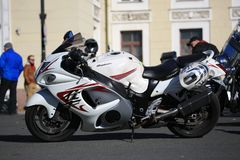 Motorcycle Suzuki GSX1300R Hayabusa on a bright sunny day. Left side view stock image