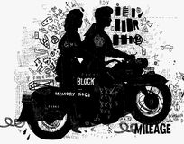 Motorcycle. The symbolic image of the motorcycle on which the man and woman Stock Photo