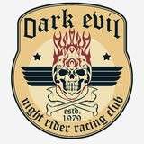 Motorcycle t-shirt graphics. Motorcycle rider t-shirt graphics. Flame Skull and bones . Grunge Racer emblem. Biker vintage apparel print. Vector Stock Images