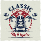 Motorcycle t-shirt label design. Stock Photo