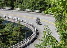 Motorcycle Takes a Bend on the Linn Cove Viaduct Stock Images
