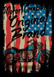 Motorcycle tee graphic with usa flag Royalty Free Stock Photos