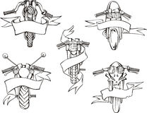 Motorcycle templates with ribbons Stock Image