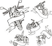 Motorcycle templates with ribbons Stock Photos