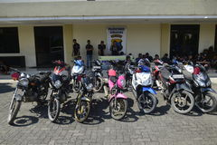 Motorcycle theft and robbery arrests in Semarang Stock Image