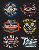 Motorcycle Themed Badges stock illustration