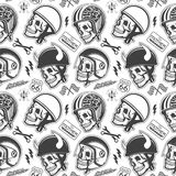 Motorcycle Themed handmade drawing helmets with Stock Images