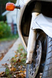 Motorcycle tire and brake Stock Image