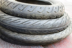 Motorcycle tires, Rubber tire, spare wheel Stock Image