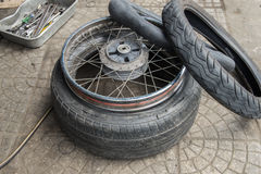 Motorcycle tires Stock Photos