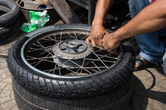 Motorcycle tires Stock Images