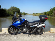 Motorcycle tour. Motorcycle on lonely road in Texas Hill Country Stock Photo