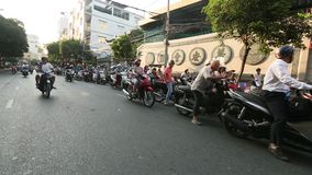 Motorcycle traffic in Ho Chi Minh city. Is located in the South of Vietnam stock footage