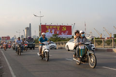 Motorcycle traffic in Ho Chi Minh city. Royalty Free Stock Photo