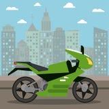 motorcycle transport city night royalty free illustration