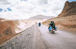 Motorcycle travelers ride in indian Himalaya roads stock photos