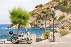 Motorcycle trip to the island Stock Image