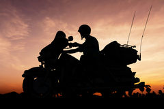 Motorcycle on twilight time Royalty Free Stock Image