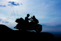 Motorcycle on twilight time Royalty Free Stock Photo