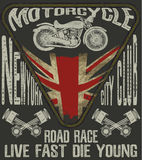 Motorcycle typography; vintage motor; t-shirt graphics; vectors. Fashion style royalty free illustration