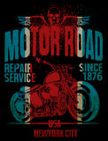 Motorcycle typography; vintage motor; t-shirt graphics; vectors Stock Photography