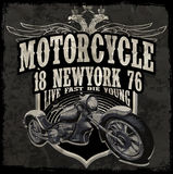 Motorcycle typography vintage motor t-shirt graphics vectors Royalty Free Stock Images