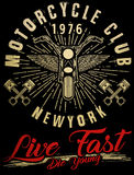 Motorcycle typography, vintage motor, t-shirt graphics, vectors. Fashion style Stock Photos