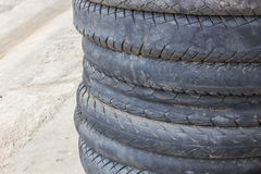 Motorcycle tyre. Background made of stack of used motorcycle tires Royalty Free Stock Photography