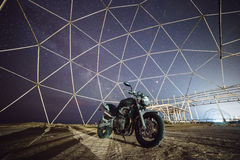 Motorcycle under stars of Milky Way Galaxy. Odessa stock images