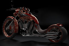 Motorcycle. Unusual motorcycle bike with classic elements on a black background royalty free illustration