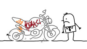 Motorcycle vandalized Stock Photography