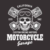 Motorcycle vector biker emblem with skull on dark. Motorcycle garage vector biker emblem, label or logo with skull in helmet and two crossed pistons isolated on vector illustration