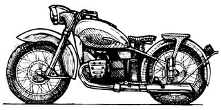 Motorcycle. Vector drawing of motorcycle stylized as engraving Stock Photo