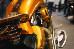 Motorcycle with vintage, leather seat stock photos
