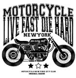 Motorcycle Vintage New York T shirt Graphic Design Royalty Free Stock Photo