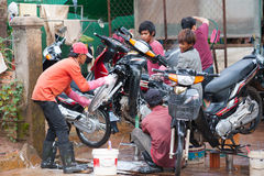 Motorcycle wash in Cambodia Stock Photo