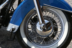 Motorcycle Wheel. Detail photo of front wheel and fender on a motorcycle Royalty Free Stock Photo