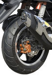 Motorcycle, wheel. Motorcycle wheel largely separately on a white background Stock Photo