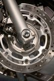 Motorcycle wheel. A motorcycle wheel with brake disc, Close up Royalty Free Stock Images