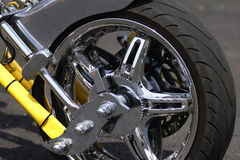 Motorcycle wheel. Closeup of a motorcycle wheel Stock Photos