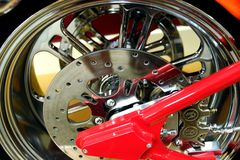 Motorcycle Wheel. Back wheel on custom motorcycle Royalty Free Stock Photos