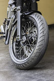 Motorcycle wheel in black and white with ABS brakes. Stock Images