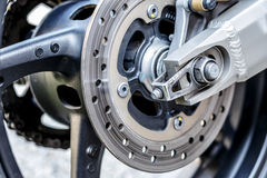 Motorcycle wheel brake background in motorbike, motorcycle wheel Royalty Free Stock Images